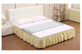 Elastic Bed Skirt Dust Ruffle Easy Fit Wrap Around Beige King