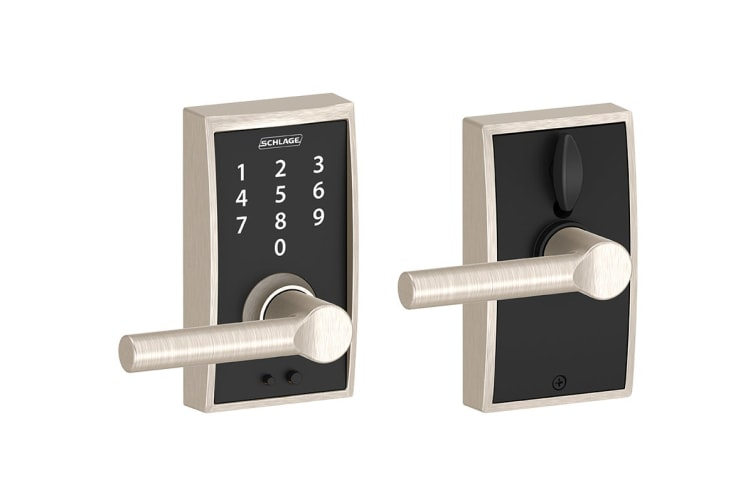 Schlage Touch Keyless Touchscreen Lever with Century Trim and Broadway Lever (Satin Nickel)