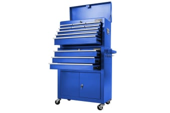 Giantz Tool Box Chest Cabinet Trolley Cart Garage Mechanic Toolbox Storage - Blue