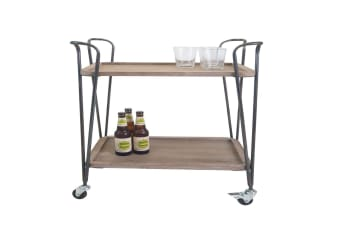 Industrial Wooden Drinks Serving Cart 2 Tier Wheels Castor Kitchen Trolley