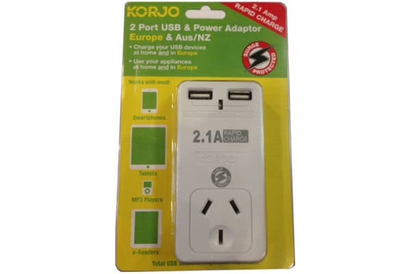 Korjo 2 Port USB & Power Adapter (Australia & Europe)