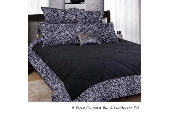 6 Piece Leopard Comforter Black SINGLE by Big Sleep