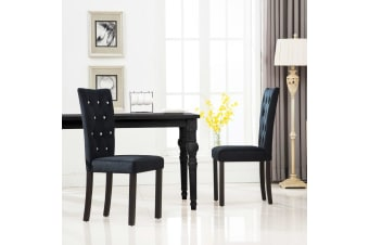 vidaXL Dining Chairs 2 pcs Black Velvet