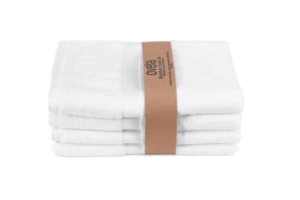 Ovela Set of 4 Bamboo Cotton Luxury Bath Sheets (Pristine White)