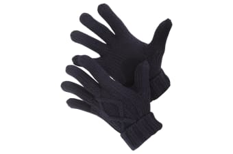 Mens Cable Knit Winter Gloves (Navy)