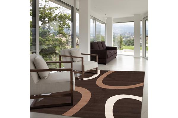 Uber Cool Cream and Brown Swish Rug 280x190cm
