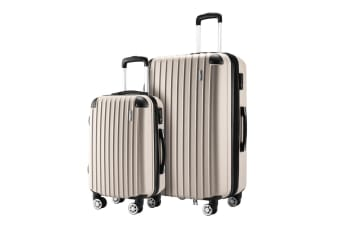 2 Pcs Luggage Set Suitcase Lightweight Trolley Carry On Travel TSA Hard Case - Champagne