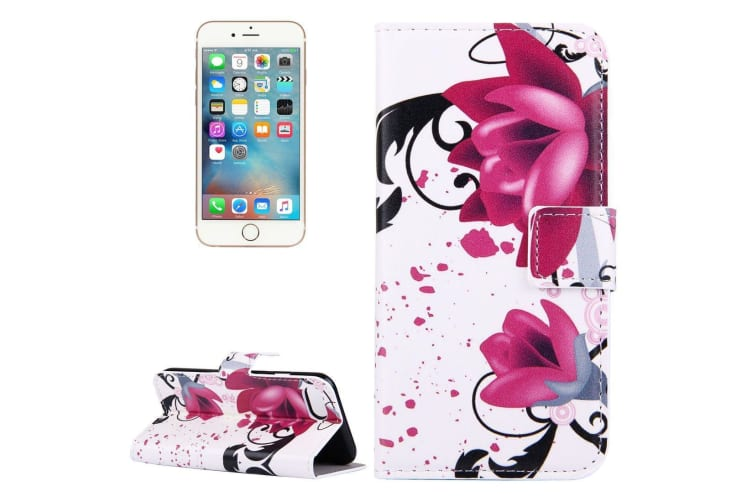 For iPhone 8 7 Wallet Case Elegant Lotuses Durable Protective Leather Cover