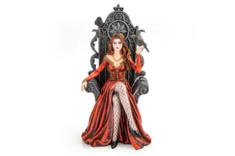 Red Queen on Throne with Raven Figurine