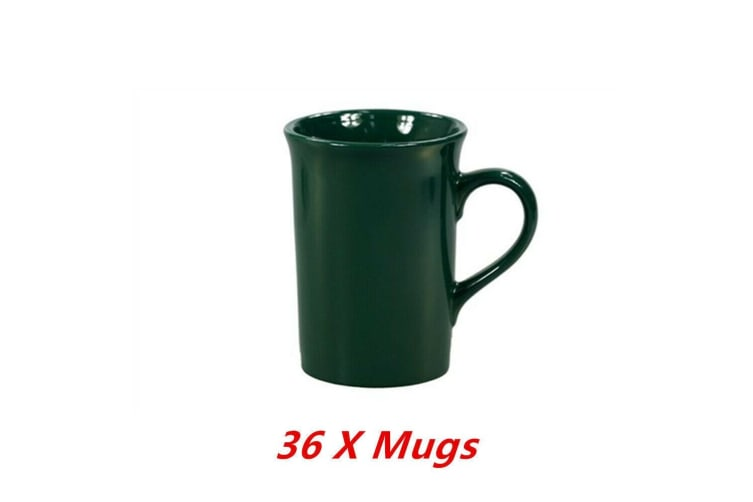 36 x Ceramic Mug Green Tall Flare Coffee Mugs Drinking Tea Cup Tumbler Event Party