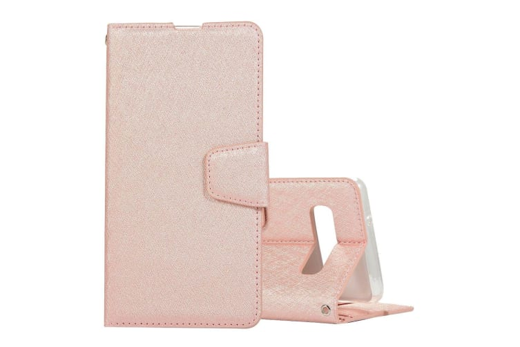 For Samsung Galaxy S10 PLUS Case Rose Gold Silk Leather Wallet Folio Cover