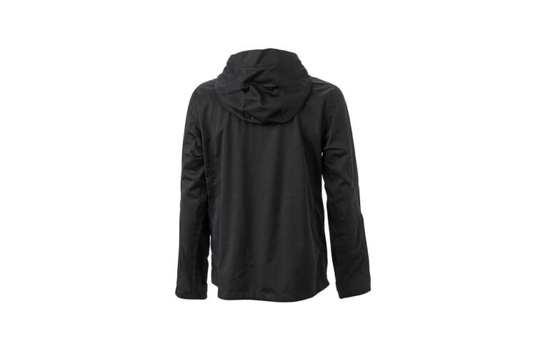 James and Nicholson Mens Outdoor Touch Fastening Jacket (Black/Silver) (3XL)