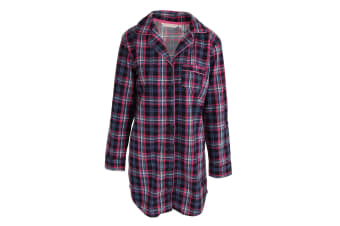Forever Dreaming Womens/Ladies Tartan Checked Button Up Nightshirt (Navy)