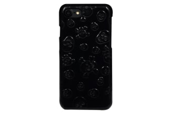 For iPhone 8 7 Case Stylish Skulls Genuine Cowhide Leather Fashion Cover Black