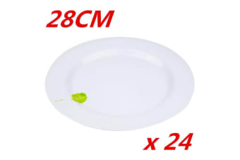 24 x 28cm Round Melamine White Dinner Plate Plates Birthday Wedding Party Cafe Pub