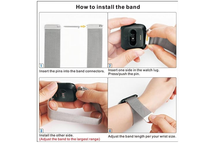 Milanese Loop Metal Replacement Bracelet Strap Wristbands For Fitbit Versa Fitness Smart Watch Colorful Large Size