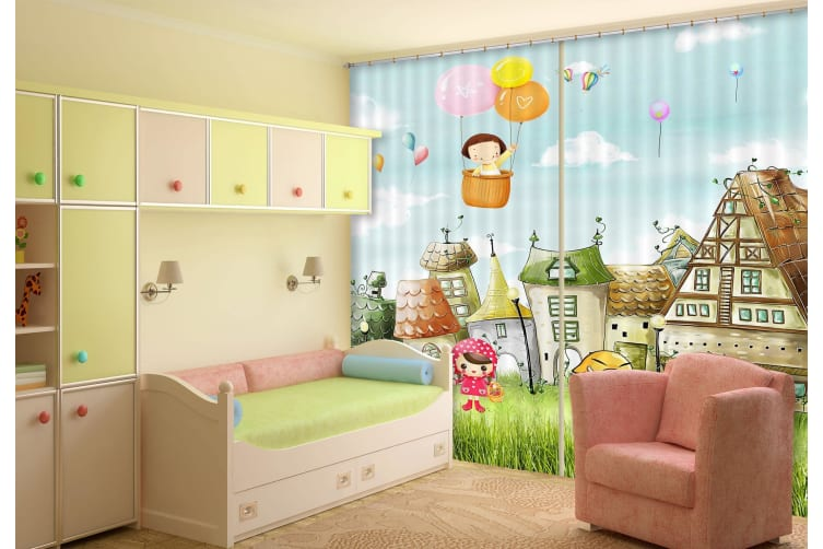 3D Happy Houses Childhood 368 Curtains Drapes, 264cmx160cm(WxH) 104''x 63''