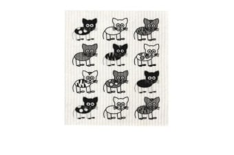 Retro Kitchen Swedish Dish Cloth Cats