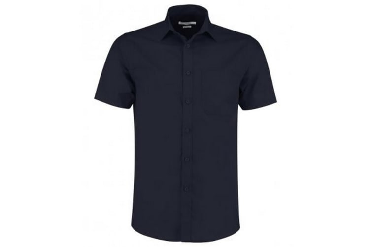Kustom Kit Mens Short Sleeve Tailored Poplin Shirt (Dark Navy) (18)