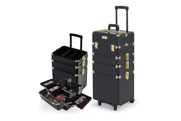 7 in 1 Portable Cosmetics Case Beauty Makeup Holder Organiser Black Gold Trolley