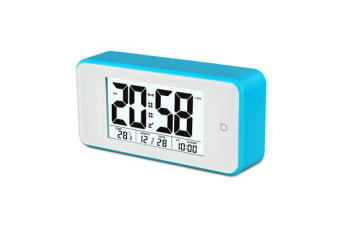 TODO Smart Light Lcd Alarm Clock Backlit Display Portable Battery Operated - Blue