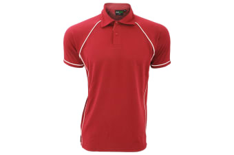Finden & Hales Mens Piped Performance Sports Polo Shirt (Red/White)