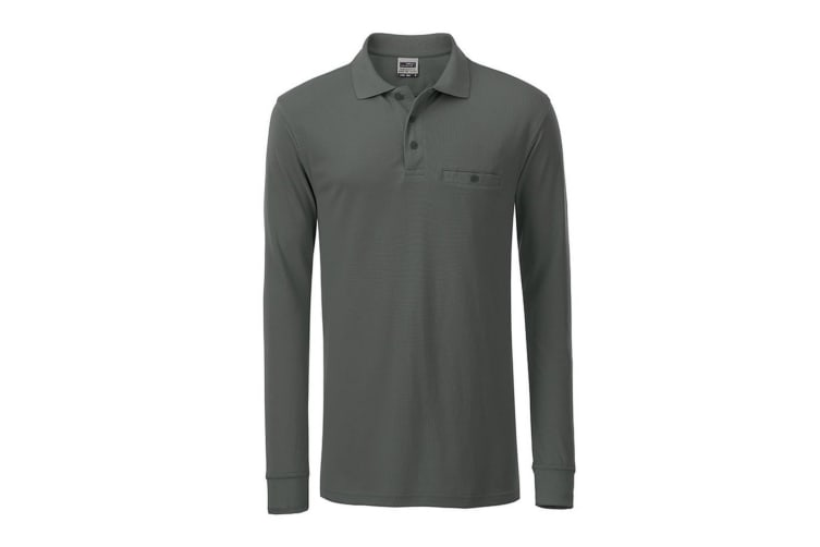James and Nicholson Mens Workwear Long Sleeve Pocket Polo (Dark Grey) (6XL)