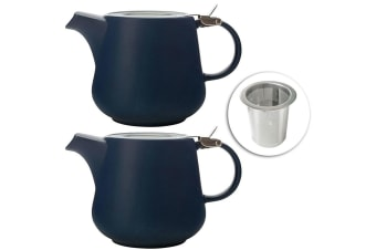 2x Maxwell & Williams 600ml Tint Navy Teapot w Lid & Removable Infuser Tea Pot