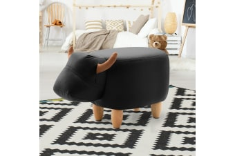 Artiss Kids Ottoman Foot Stool Toy Cow Chair Animal Pouffe Rest Leather Black