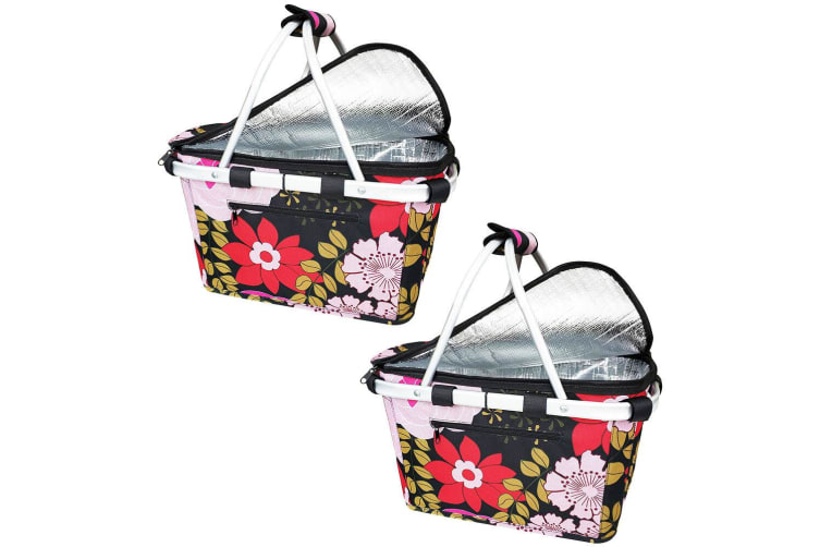 2x Sachi Collapsible Foldable Insulated Picnic Shopping Bag w  Lid Floral Blooms