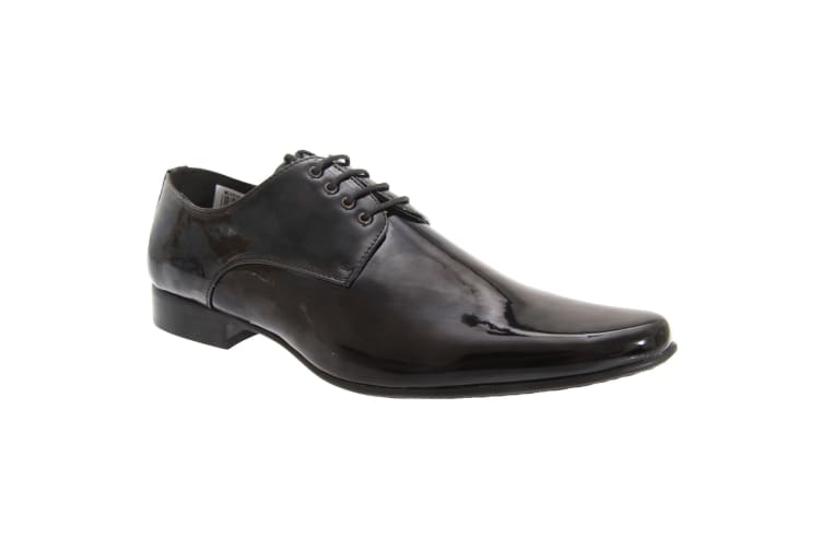 Goor Mens Patent Leather Lace-Up Chisel Toe Gibson Dress Shoes (Black Patent) (9 UK)
