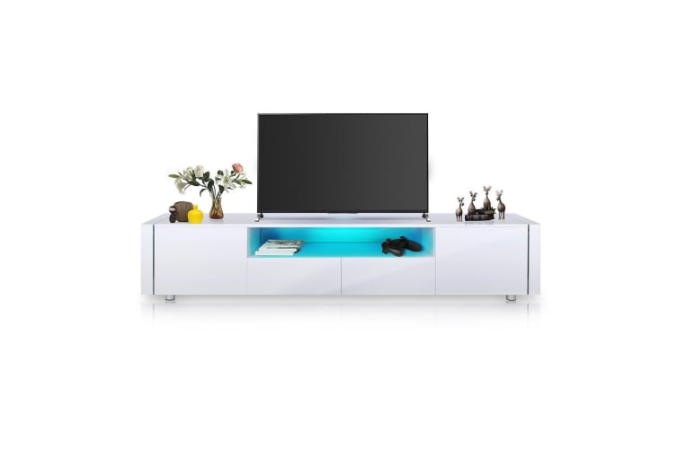 TV Cabinet Stand Unit 185cm Lowline Wood Furniture Gloss Front LED w/2 Doors & 2 Drawers White