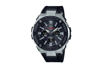 Casio G-Shock Analog Digital Watch Gulfmaster Series with Cloth / Tough Leather Band - Black/Silver (GSTS330AC-1A)
