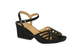 Anne Michelle Womens/Ladies Chunky Heel Cut Out Vamp Shoes (Black)