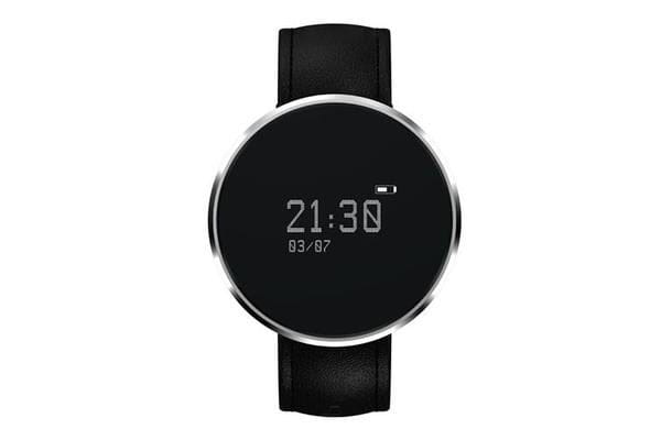"""Bluetooth V4.0 Smart Watch 0.96"""" Oled Heart Rate Blood Oxygen Ip67 Leather Silver"""