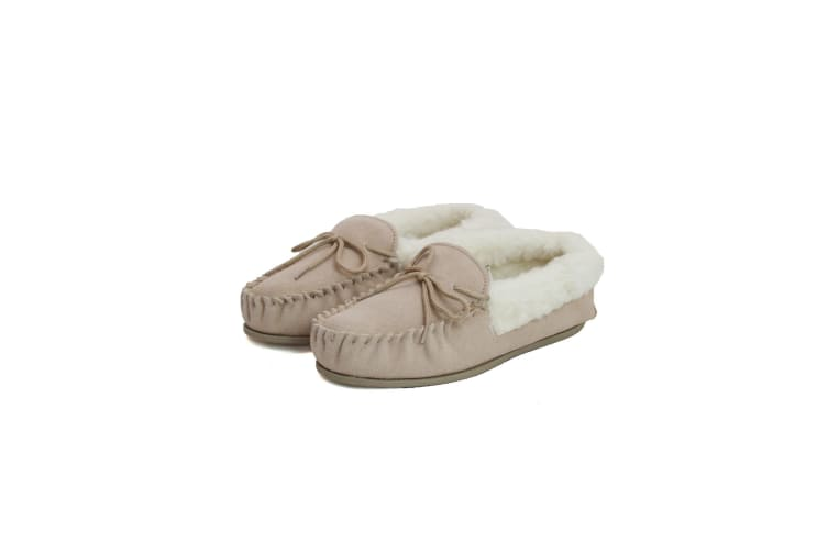 Eastern Counties Leather Womens/Ladies Hard Sole Wool Lined Moccasins (Camel) (4 UK)
