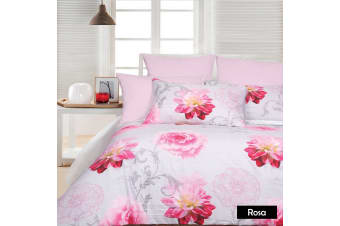 Rosa Silver Quilt Cover Set - Queen
