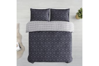 Printed Cotton Sateen Quilt Cover Set King Single Bed Bordeaux