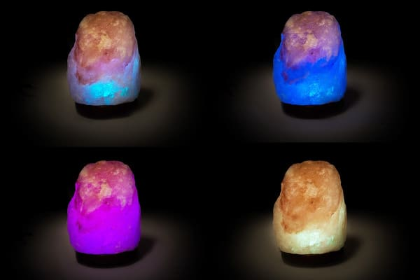 Colour Changing USB Himalayan Salt Lamp with Round Base - Natural (9-11cm)