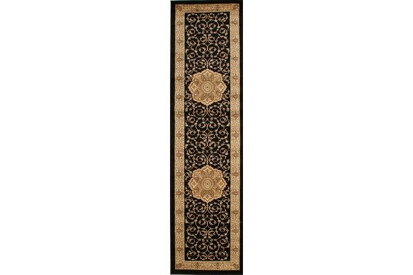 Medallion Classic Pattern Runner Black 400x80cm