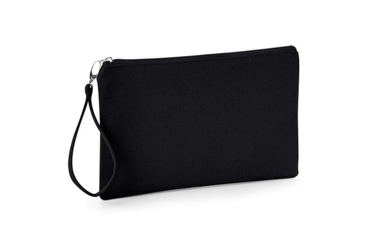 Westford Mill Canvas Wristlet Pouch (Black/Black) (26 x 17cm)