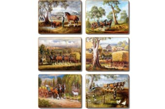Cinnamon Placemats Cork Backed - Working Horses