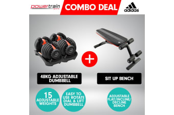 2x Powertrain 24kg Adjustable Dumbbell Home Gym w/ Adidas Bench