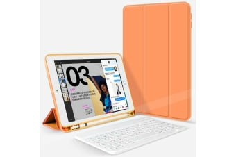 For iPad 5th 9.7 Inch 2017 Bluetooth Keyboard +Pen Holder Leather Case-Orange