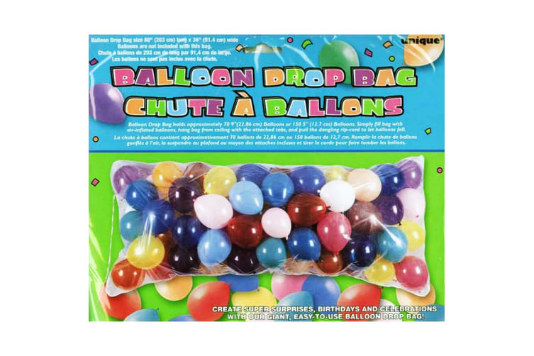 Unique Party Clear Plastic Balloon Drop Bag (Clear) (One Size)