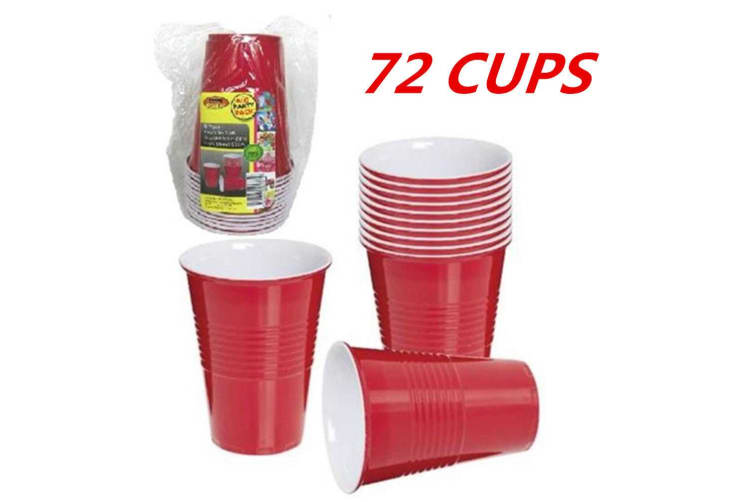 72 x DISPOSABLE 500ML 16OZ PARTY PLASTIC RED USA STYLE JUMBO CUPS CUP BEER DRINK