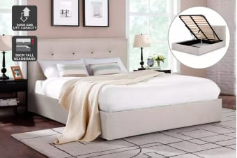 Shangri-La Bed Frame - Portofino Gas Lift Collection (Beige, Queen)