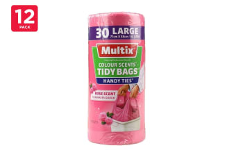 Multix Tidy Bags Handy Ties Colour Scents Assorted 34L Large 71cm X 58cm (12 x 30 Pack)