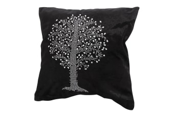 Panache Tree Design Sparkle Cushion Cover (Cushion Pad Not Included) (Black)