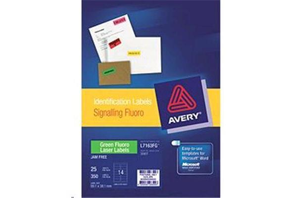 AVERY LABELS GREEN 14 UP 25 SHEETS 99.1X38.1MM FLUORO L7163-25FG